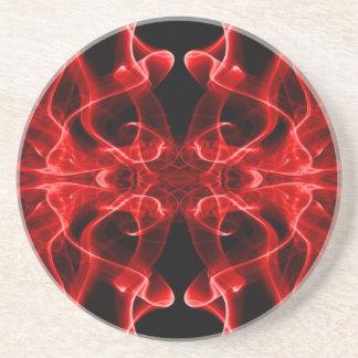 Silueta del negro rojo del extracto del humo color posavasos manualidades