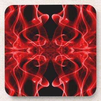 Silueta del negro rojo del extracto del humo color posavasos de bebidas