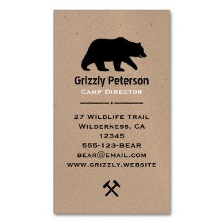 Silueta del oso grizzly tarjetas de visita magnéticas (paquete de 25)
