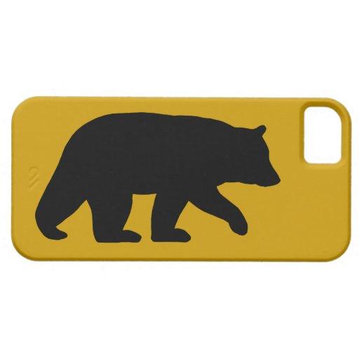 Silueta del oso negro con color de fondo de iPhone 5 Case-Mate cárcasa