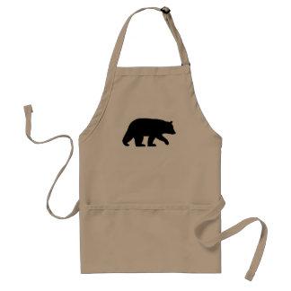 Silueta del oso negro delantal