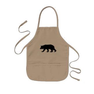 Silueta del oso negro delantal infantil