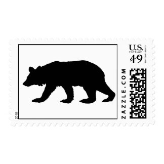 Silueta del oso negro estampillas