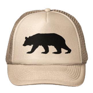 Silueta del oso negro gorros