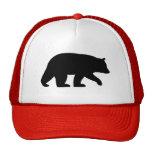 Silueta del oso negro gorras