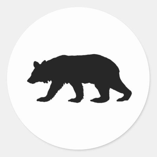 Silueta del oso negro pegatina redonda