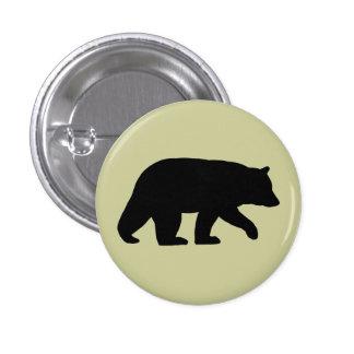 Silueta del oso negro pin redondo de 1 pulgada