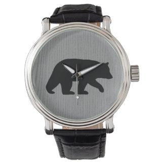Silueta del oso negro reloj de mano