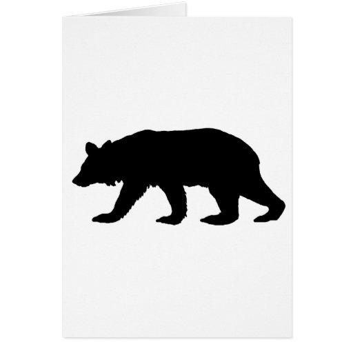 Silueta del oso negro tarjetas