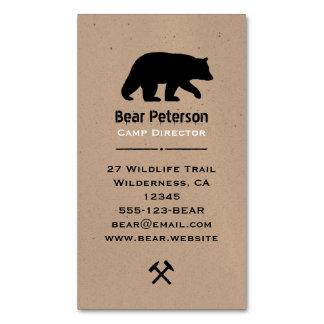 Silueta del oso negro tarjetas de visita magnéticas (paquete de 25)