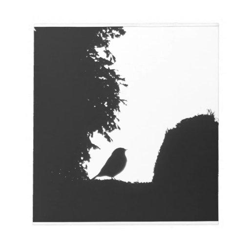 Silueta del pájaro bloc de notas