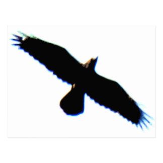 Silueta del pájaro de vuelo postal