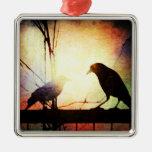silueta del pájaro en la puesta del sol ornamento para reyes magos