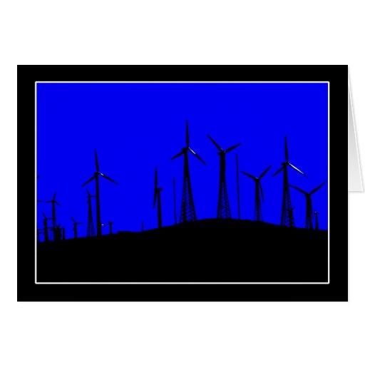 Silueta del parque eólico de Tehacapi (1) Tarjeta De Felicitación