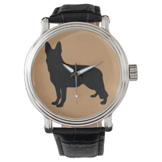 Silueta del pastor alemán reloj de mano