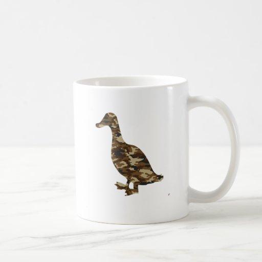 Silueta del pato del camuflaje tazas de café