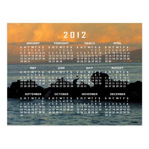 Silueta del pelícano; Calendario 2012 Tarjetas Postales