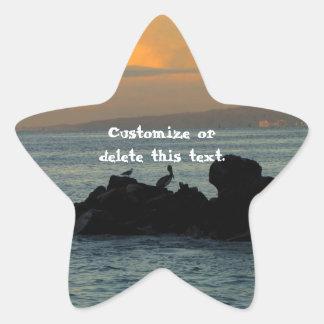 Silueta del pelícano; Personalizable Pegatina En Forma De Estrella