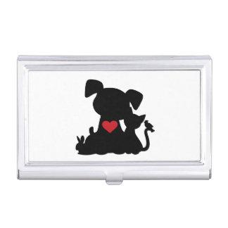 Silueta del perrito y del gatito del amor caja de tarjetas de visita