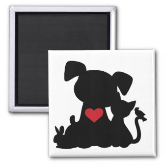 Silueta del perrito y del gatito del amor imanes de nevera