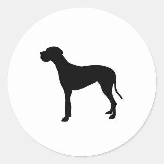 Silueta del perro de great dane pegatina redonda