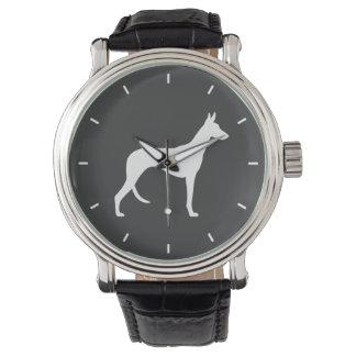 Silueta del perro de Ibizan Reloj De Mano