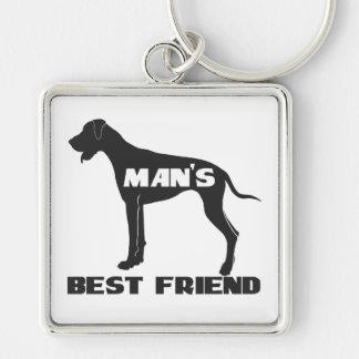 Silueta del perro de la diversión del mejor amigo  llavero cuadrado plateado
