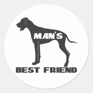 Silueta del perro de la diversión del mejor amigo pegatina redonda