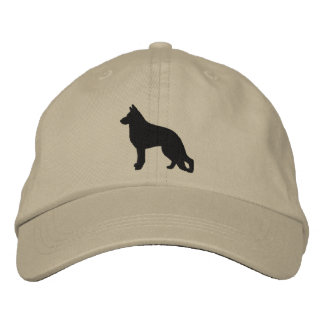 Silueta del perro de pastor alemán gorra bordada