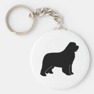 Silueta del perro de Terranova Llavero Redondo Tipo Pin