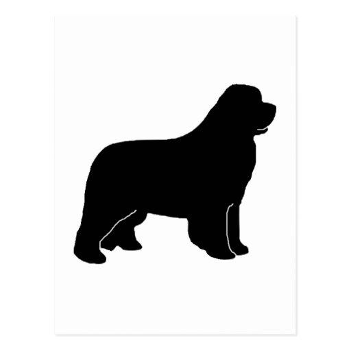 Silueta del perro de Terranova Postal