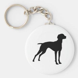 Silueta del perro de Vizsla (negro) Llavero Redondo Tipo Pin