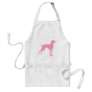 Silueta del perro de Vizsla rosa Delantales