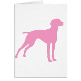 Silueta del perro de Vizsla (rosa) Tarjeta De Felicitación