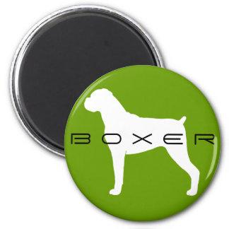 Silueta del perro del boxeador con los oídos natur imán para frigorífico