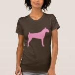 Silueta del perro del boxeador (rosa) camiseta