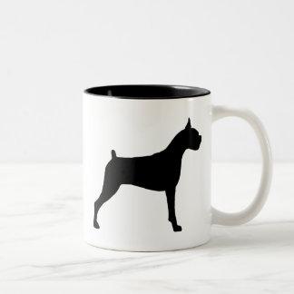Silueta del perro del boxeador taza de café de dos colores