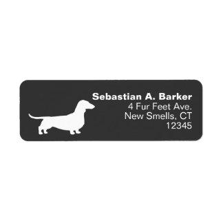 Silueta del perro del Dachshund Etiqueta De Remite