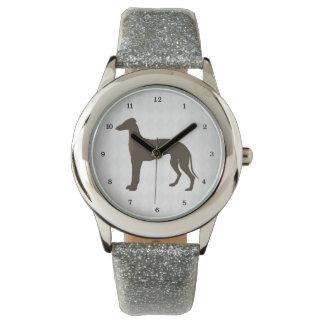 Silueta del perro del galgo en formas del diamante relojes de mano