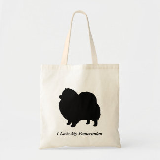 Silueta del perro negro de Pomeranian Bolsa Tela Barata
