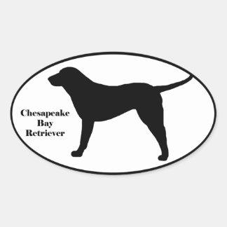 Silueta del perro perdiguero de bahía de pegatina de oval personalizadas