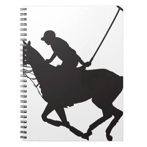Silueta del potro de polo note book