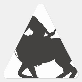 Silueta del potro de polo pegatina triangular