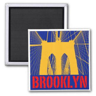 Silueta del puente de Brooklyn Imán Cuadrado
