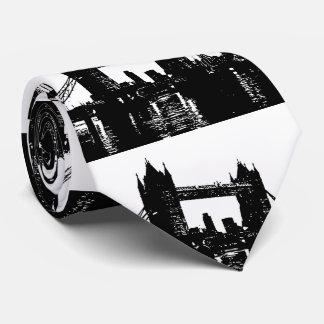 Silueta del puente de la torre de Londres del arte Corbatas Personalizadas