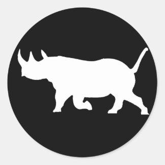Silueta del rinoceronte, revestimiento izquierdo, pegatinas redondas