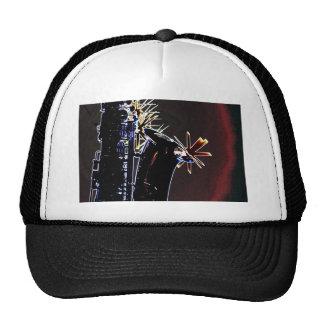 Silueta del saxofón con las estrellas en negro gorras