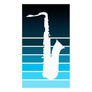 silueta del saxofón: el azul se descolora tarjetas de visita