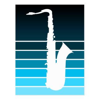 silueta del saxofón: el azul se descolora tarjetas postales