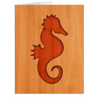 Silueta del Seahorse en la madera Tarjeta De Felicitación Grande